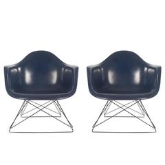 Mid-Century Modern Charles Eames Herman Miller Fiberglass Lounge Chairs in Navy