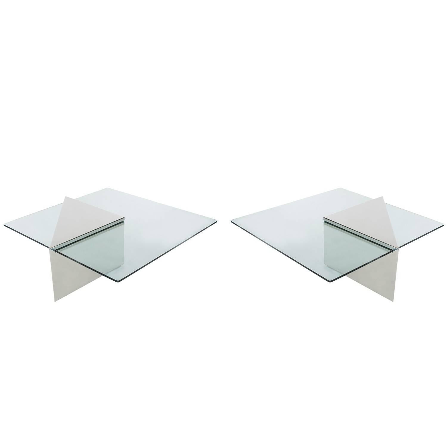 Pair of Mid-Century J Wade Beam Chrome and Glass Cocktail Table Signed Brueton