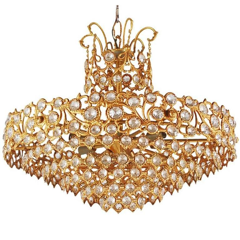 Hollywood Regency Gold Gilded French or Italian Crystal Chandelier For Sale