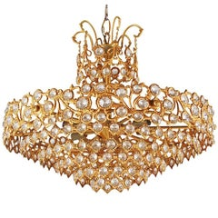 Hollywood Regency Gold Gilded French or Italian Crystal Chandelier