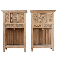 Pair of 19th Century Gothic Revival Carved Oak Cabinet on Stands