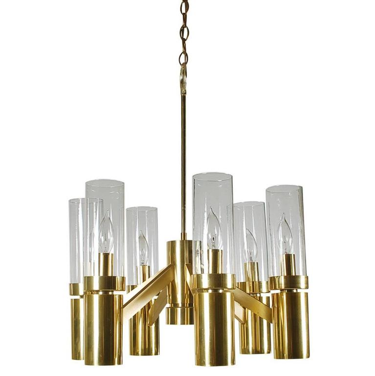 Mid-Century Modern Tubular Brass and Glass Chandelier by Sciolari for Lightolier For Sale