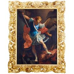 Large and Important Italian 19th Century Oil on Canvas Archangel and Satan