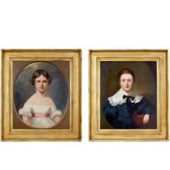 Pair of Early 19th Century Oil on Canvas Regency Child Portraits