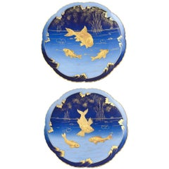 Pair of 19th Century Porcelain Gold and Blue Fish Plates By Pirkenhammer