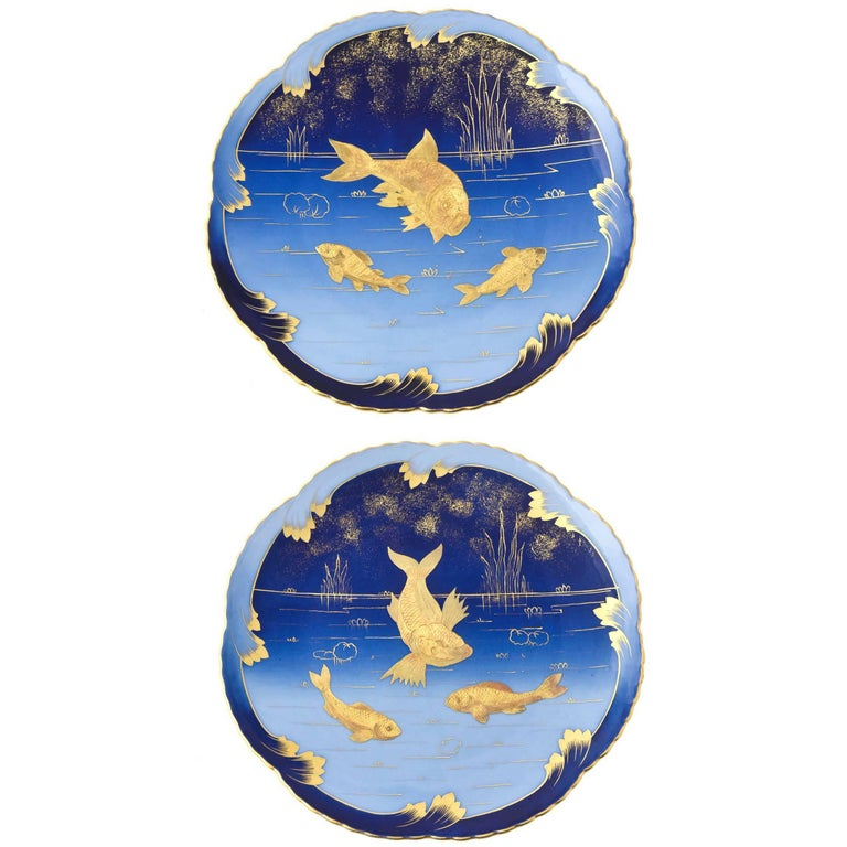 Pair of 19th Century Porcelain Gold and Blue Fish Plates By Pirkenhammer For Sale