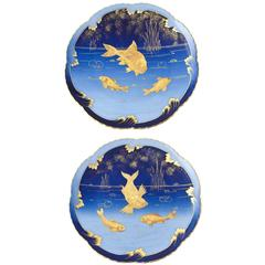Pair of 19th Century Porcelain Gold and Blue Fish Plates