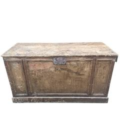 Primitive Belgian Shop Counter with Drawer, circa 1940