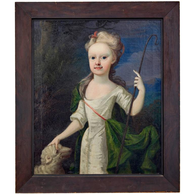 Mid-18th Century Oil on Canvas of a Young Shepherdess