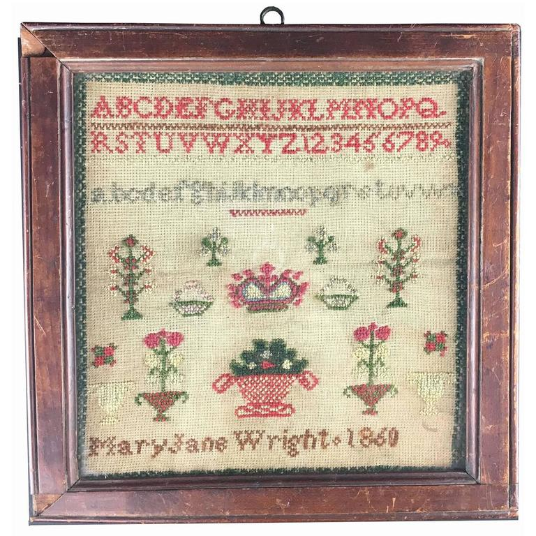 American Mid Victorian Folk Art Children S Sampler Dated