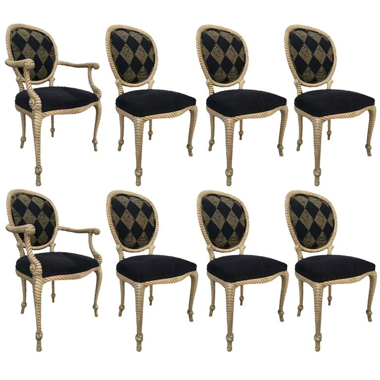 Set of Eight Vintage Carved Rope Dining Chairs