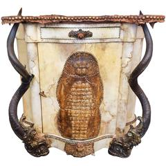 Croco and Parchment Chest with Kudu Horns
