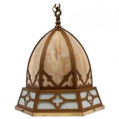 Arts and Crafts Style Paint Decorated and Stained Glass Lantern