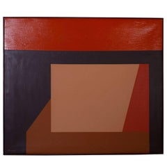 Mid-Century Geometric Abstract Acrylic Painting on Canvas