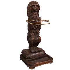 Carved Wood Umbrella Stand with Circus Dog, Late 19th Century