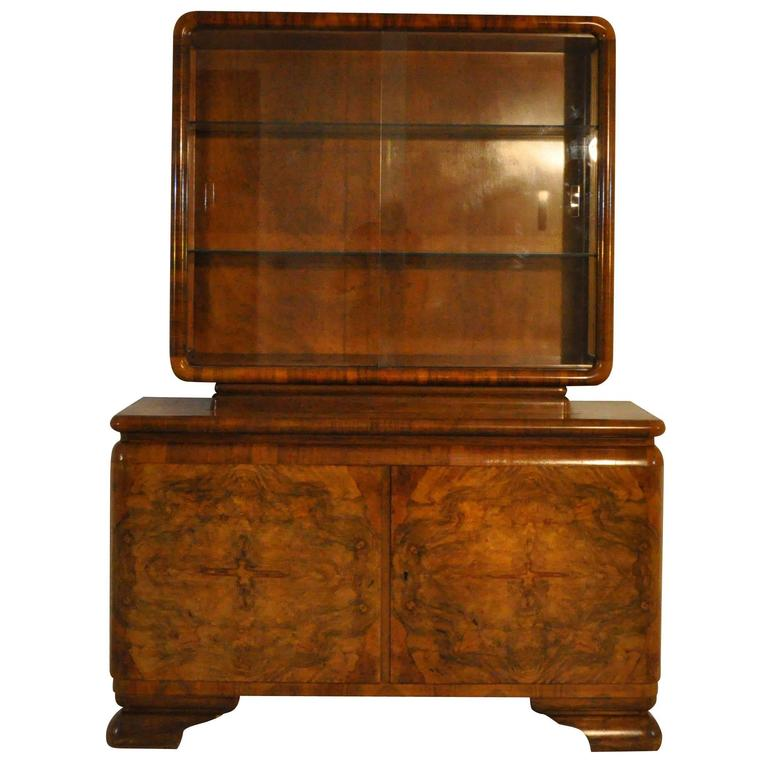 art deco commode with showcase top for sale at 1stdibs. Black Bedroom Furniture Sets. Home Design Ideas