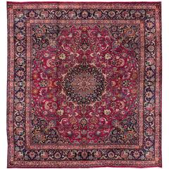 Beautiful Vintage Red Mashad Rug