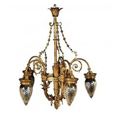 Antique Bronze Five-Light Louis XVI Style Chandelier
