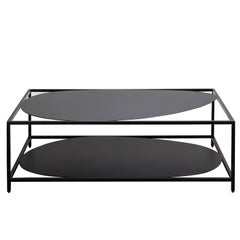 Contemporary Minimal Black Organic Sculptural Steel Coffee Table, USA, In Stock