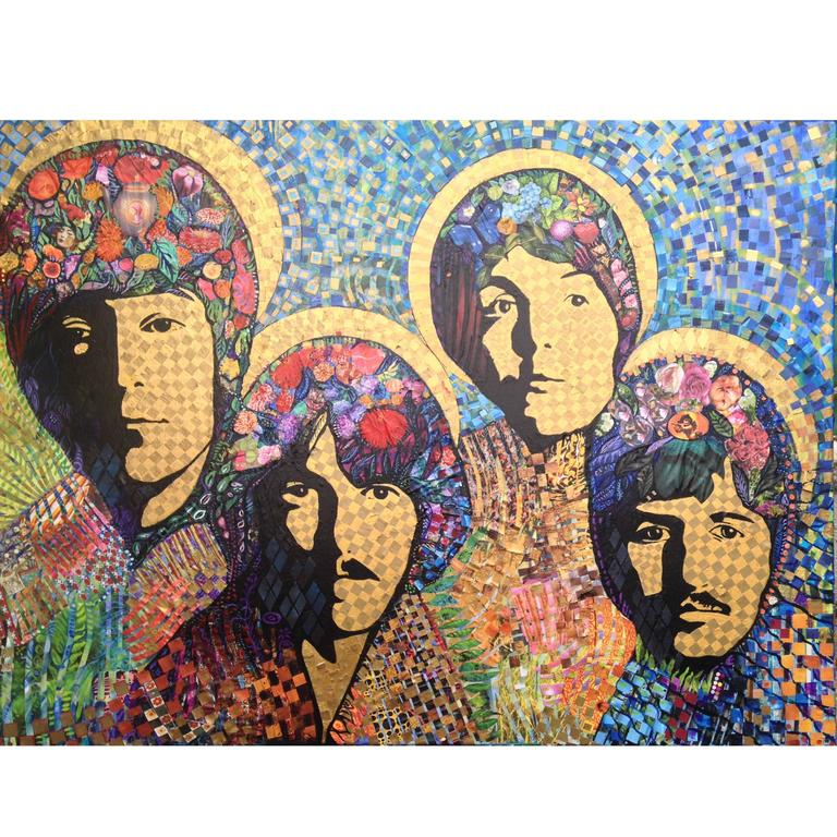 """The Beatles"" Oil on Canvas & Collage Painting by English Artist William Wright For Sale"