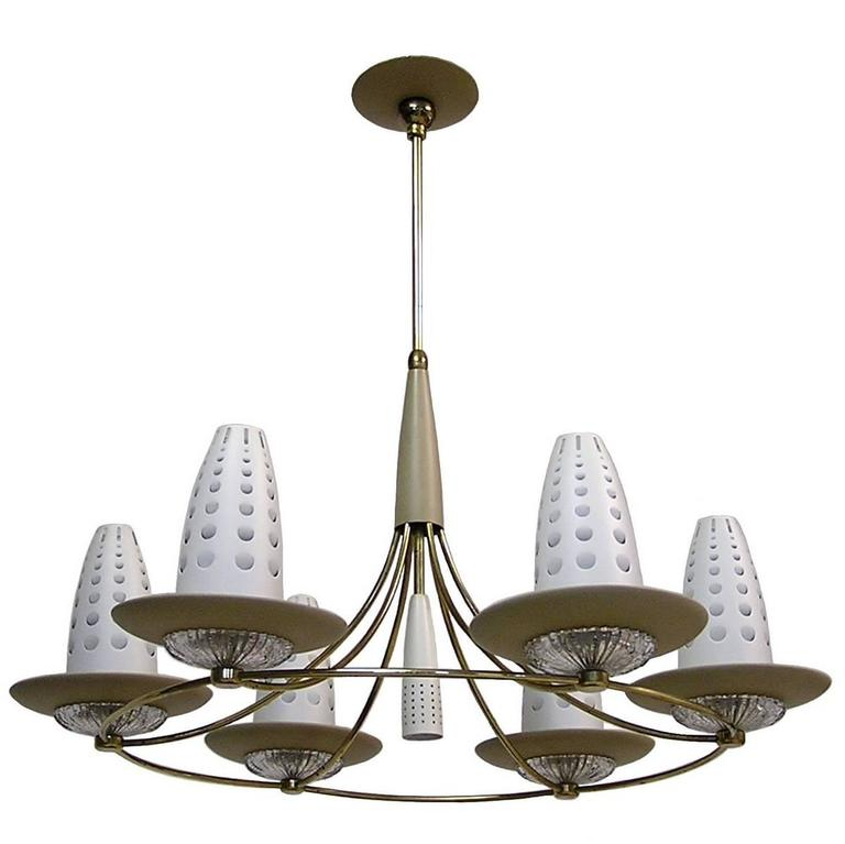 1950s Lightolier Chandelier by Gerald Thurston For Sale