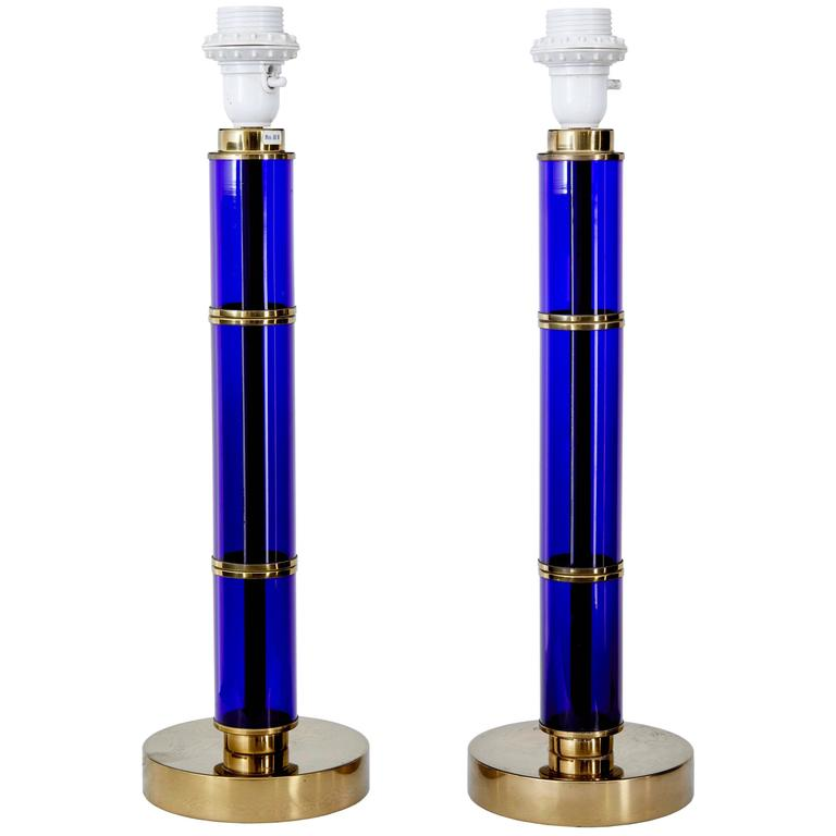 Pair of 1960s Bohemian Blue Glass and Brass Table Lamps