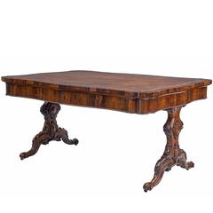 Large 19th Century William iv Rosewood Library Table Attributed to Gillows