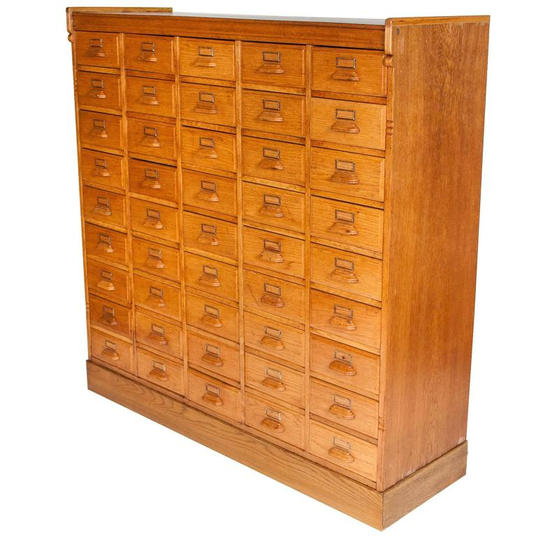 45 Drawer Golden Oak Haberdashery Cabinet with Brass Label Holders