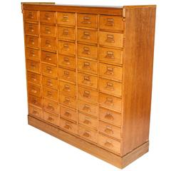 45 Drawer Golden Oak Haberdashery Cabinet with Brass Label Holders