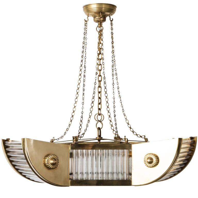 Luxe French Art Deco Brass and Glass Tubes Chandelier