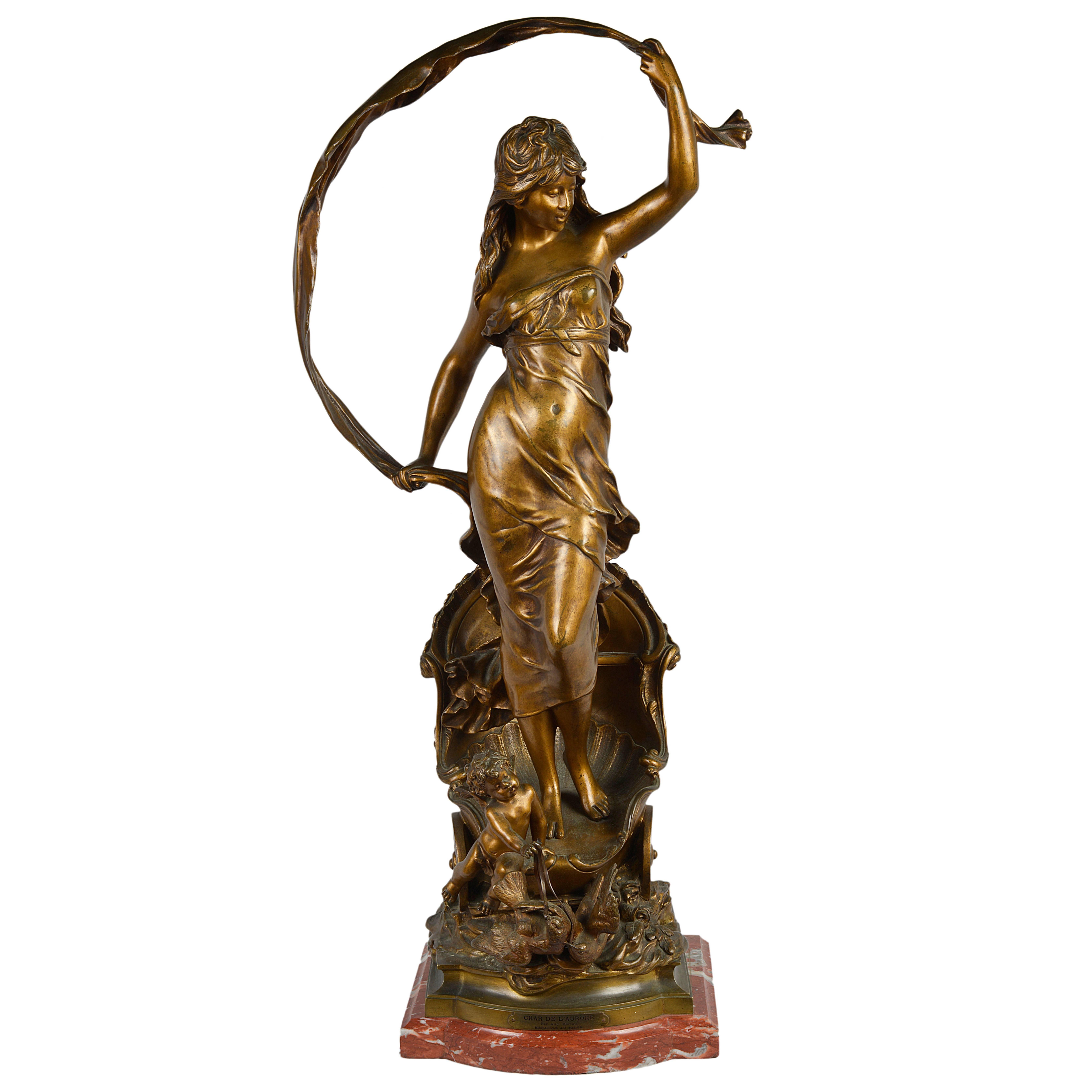 Auguste Moreau, Bronze Statue of Le Char D'Aurore 'The Chariot of Aurora'