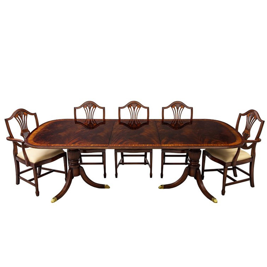 Flamed Mahogany Duncan Phyfe Style High Gloss Dining Table and 8 Chairs Set
