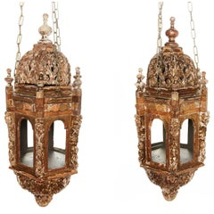 Pair of 18th Century Italian Giltwood Lanterns