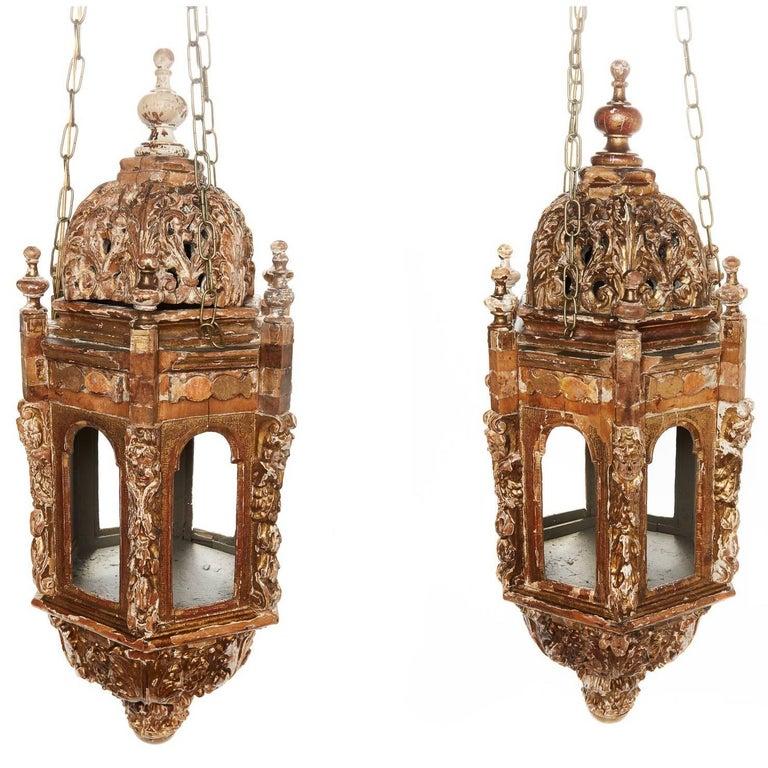 Pair of 18th Century Italian Giltwood Lanterns
