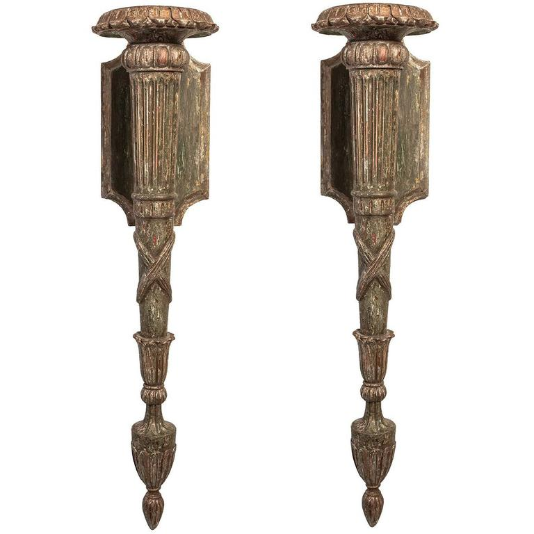 Antique Wooden Wall Sconces : Antique Polychrome Carved Wooden Sconces For Sale at 1stdibs