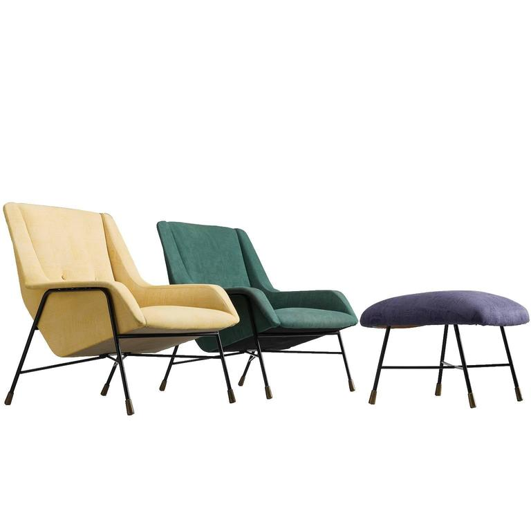 Alfred Hendrickx Rare Pair of Lounge Chairs and Ottoman