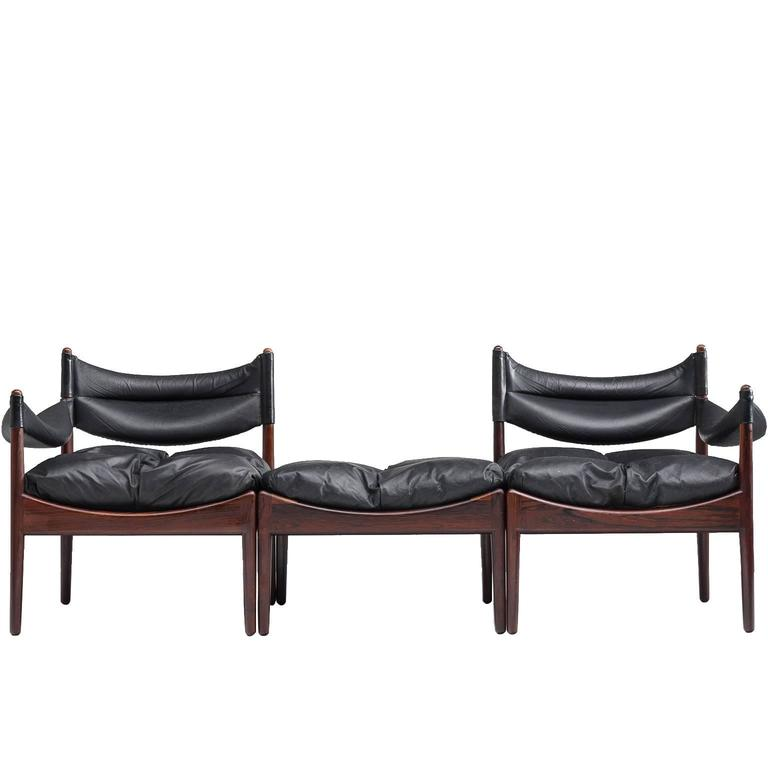 Kristian Vedel Modular Sofa in Rosewood and Original Black Leather