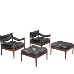 Kristian Solmer Vedel Pair of Lounge Chairs in Rosewood and Black Leather