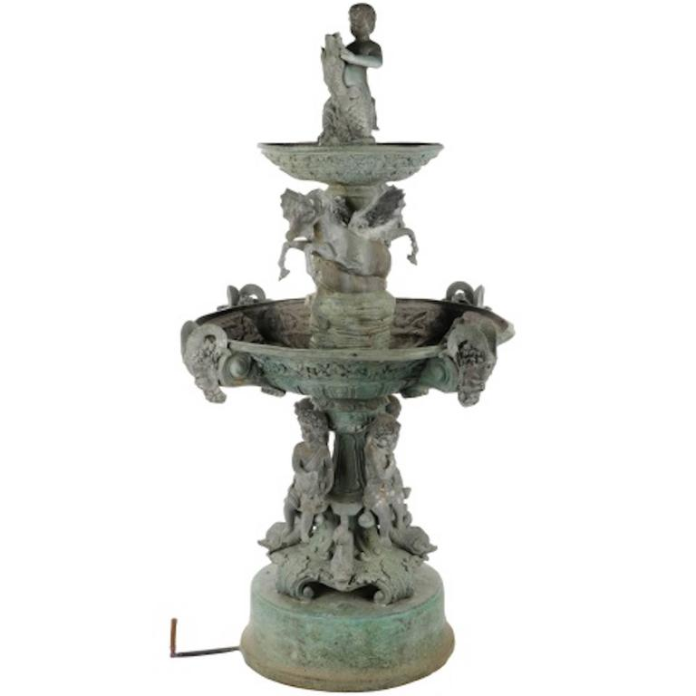 Italian Verdigris Bronze Tiered Garden Fountain