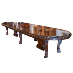 20' Long New York Belle Époque Extension Dining Table in Mahogany, ca. 1890