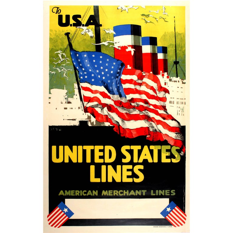 Original Cruise Ship Poster - To USA United States Lines American Merchant Lines For Sale