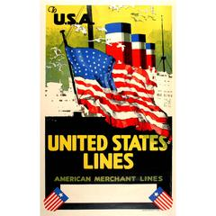 Original Cruise Ship Poster - To USA United States Lines American Merchant Lines