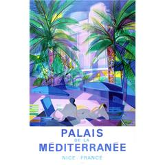 Original Vintage Advertising Poster For Palais de la Mediterranee Nice / France