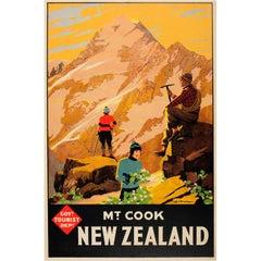 Original Vintage Tourist Travel Advertising Poster for Mount Cook New Zealand