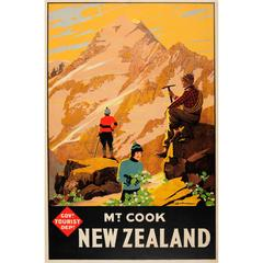 Original Vintage Tourist Travel Advertising Poster for Mount Cook New Zealand