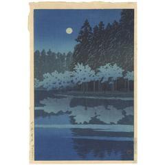 Blue Full Moon Nature Night Scene by Kawase Hasui 1931 Shin-Hanga Woodcut Print