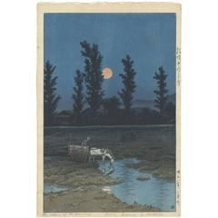 Kawase Hasui 20th Century Shin-Hanga Japanese Woodcut Print Pink Moon Blue Night