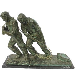Art Deco Spelter Sculpture, Two Man Pulling a Boat from the Water, Marble Plinth
