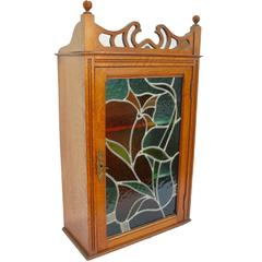Magnificent French Art Nouveau Display Case Cabinet with Colored Stained Glass