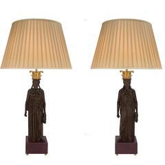 True Pair of Italian 19th Century Neoclassical Style Bronze Lamps